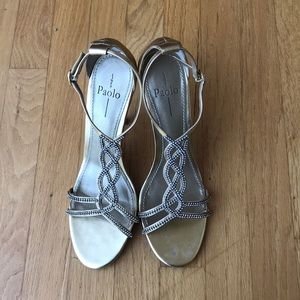 LINEA PAOLO Gold-tone Rhinestone Embellished Heels